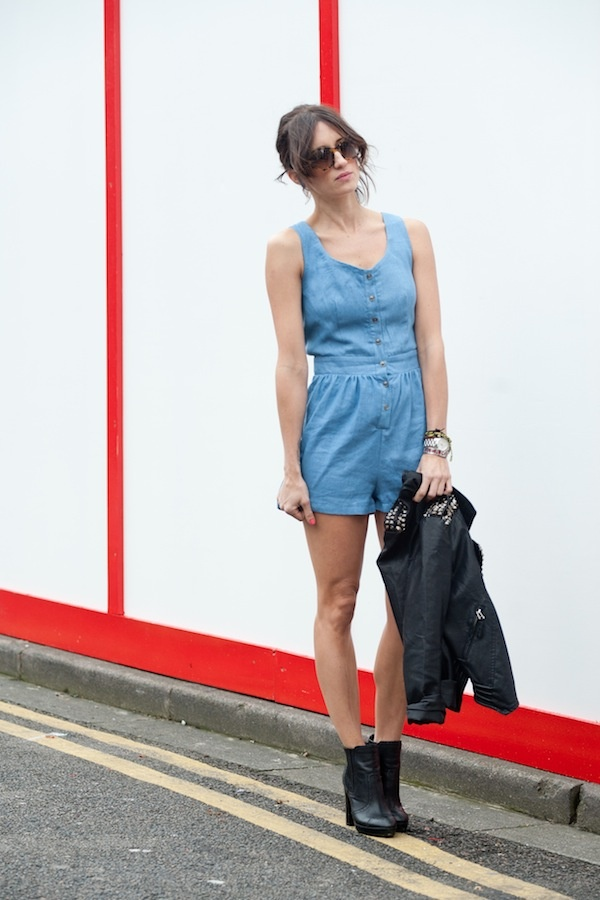 Jacket: Goldie  Bag: Chanel  Playsuit: Goldie  Glasses: Thierry Lassery