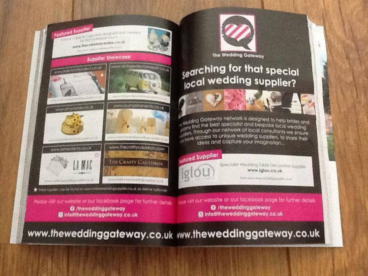 Our advert in August edition of Wedding Ideas Magazine including suppliers from our network of websites www.theweddinggateway.co.uk