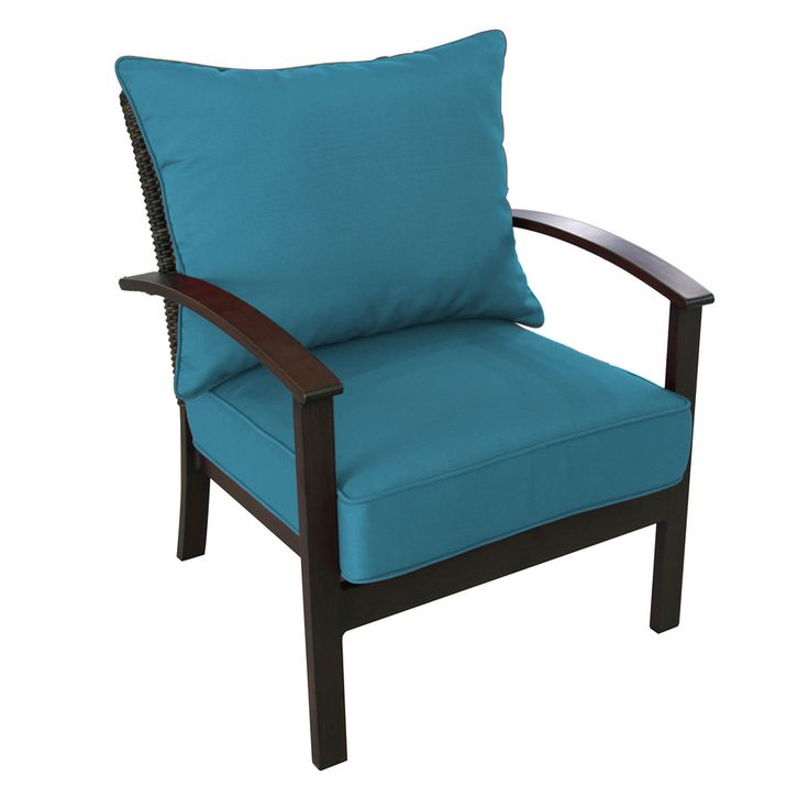 allen + roth Atworth 2-Count Brown Aluminum Patio Conversation Chairs with Blue Cushions