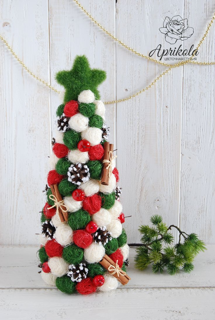 Новогодняя елка, christmas tree, new year , christmas, рождество, handmade, eco tree, red, green, елка из сизаля