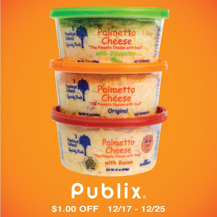 Palmetto Cheese is on sale at all Publix locations from 12/17 until 12/25 for $1.00 Off.