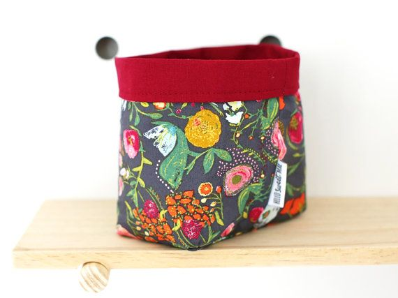 Small fabric basket in painterly floral.
