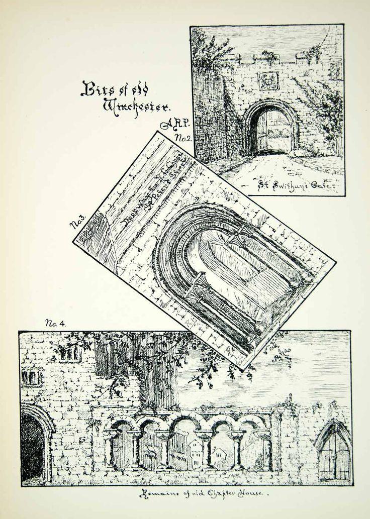 1889 Lithograph Annie R Pattison Art St Swithuns Gate Winchester England ZZ22