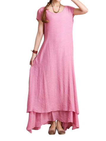 Hot-sale O-Newe Vintage Solid Half Sleeve Fake Two-Piece Maxi Dress For Women  - NewChic Mobile.
