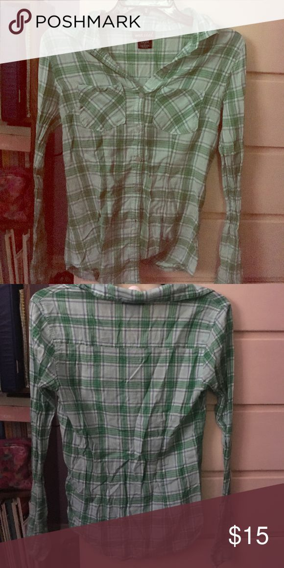 Green Flannel Shirt Barely worn Wet Seal Tops Button Down Shirts