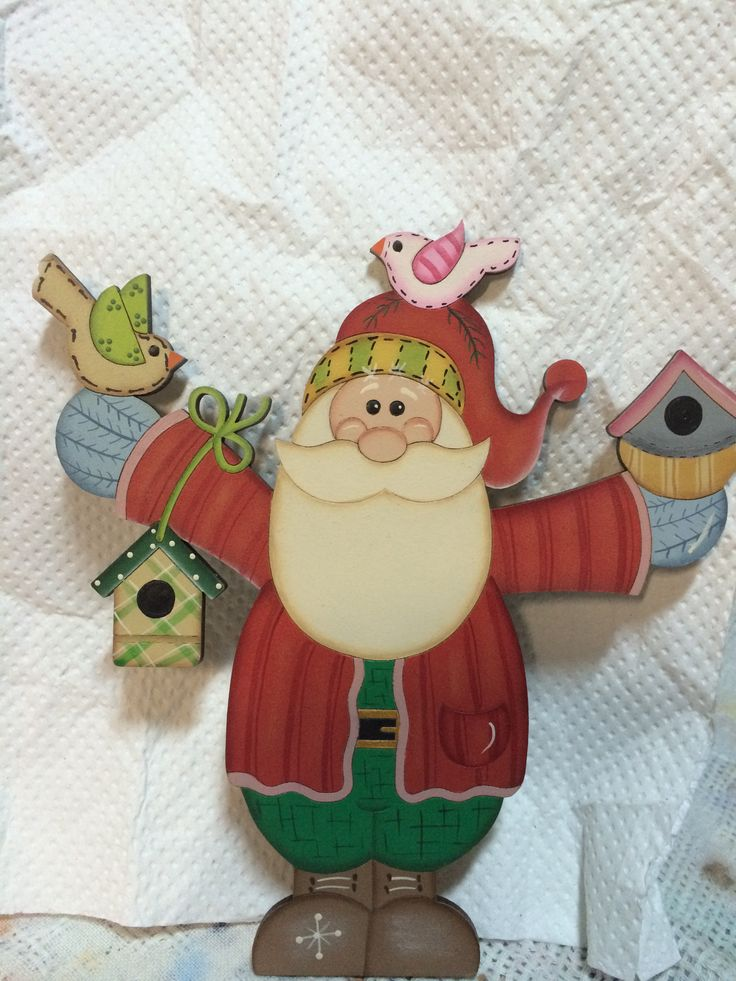 Country madera painting santa