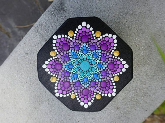 Punto arte Mandala caja flor madera pintado oro trullo púrpura