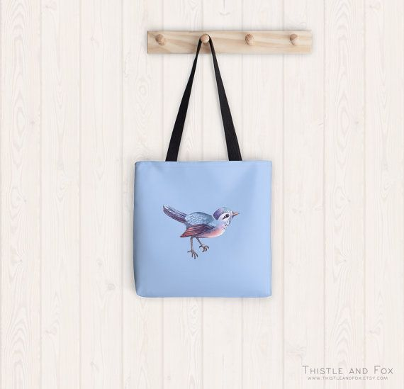 Songbird in Periwinkle Blue Tote Bag Colorful by ThistleandFox