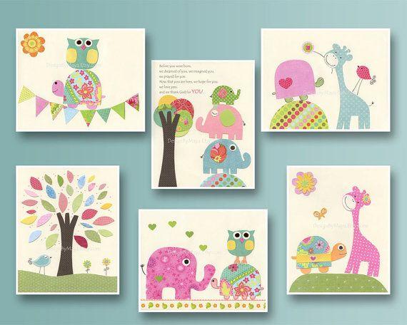 Nursery print Baby girl Room Decor Nursery Art Set by DesignByMaya, $66.00