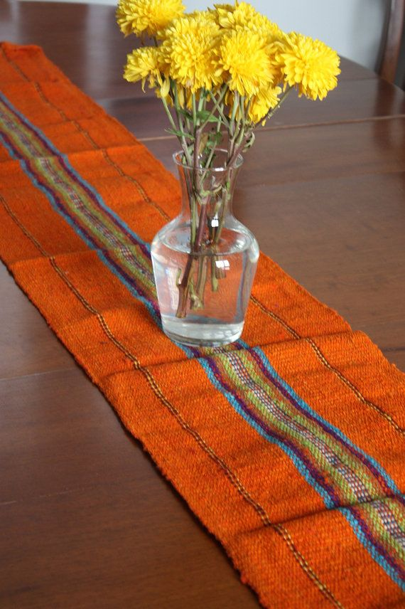 Orange Table Runner Woven by AdrianaHappenings on Etsy