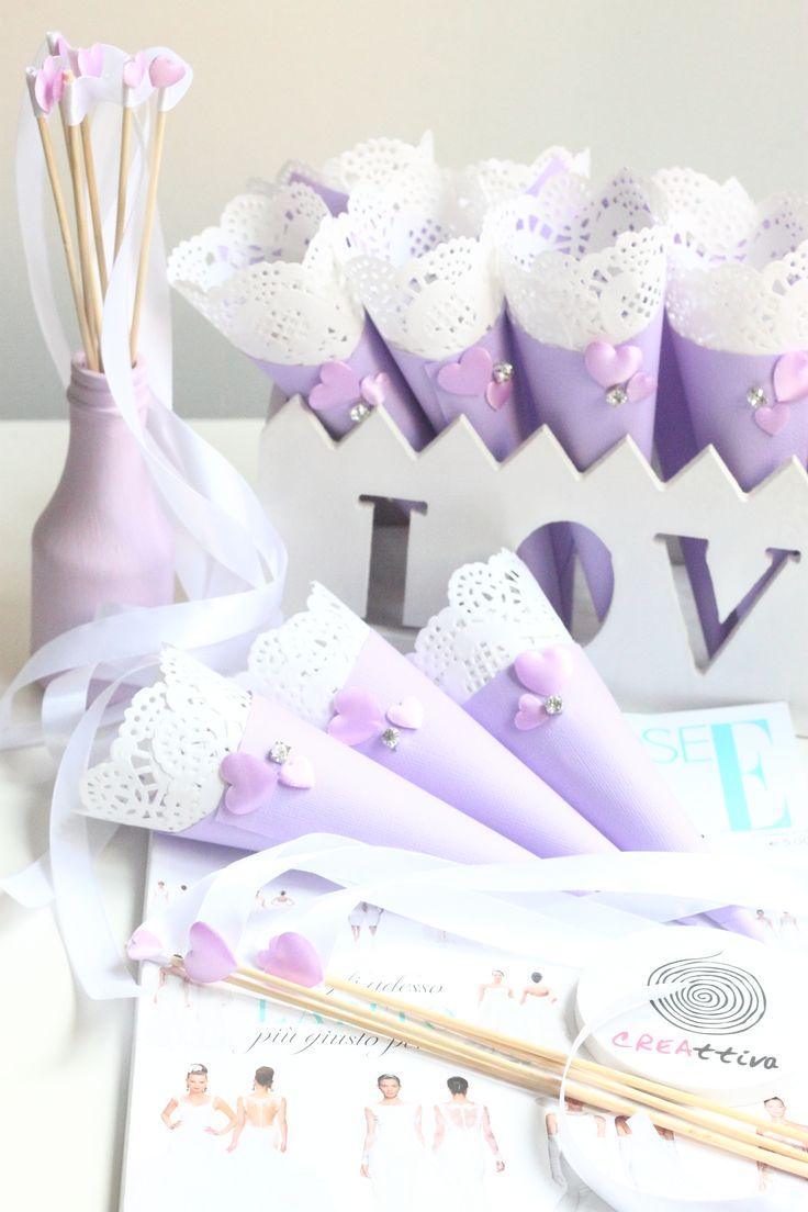 wedding ribbon coni porta riso glicine handmade