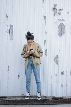 bomber and jeans