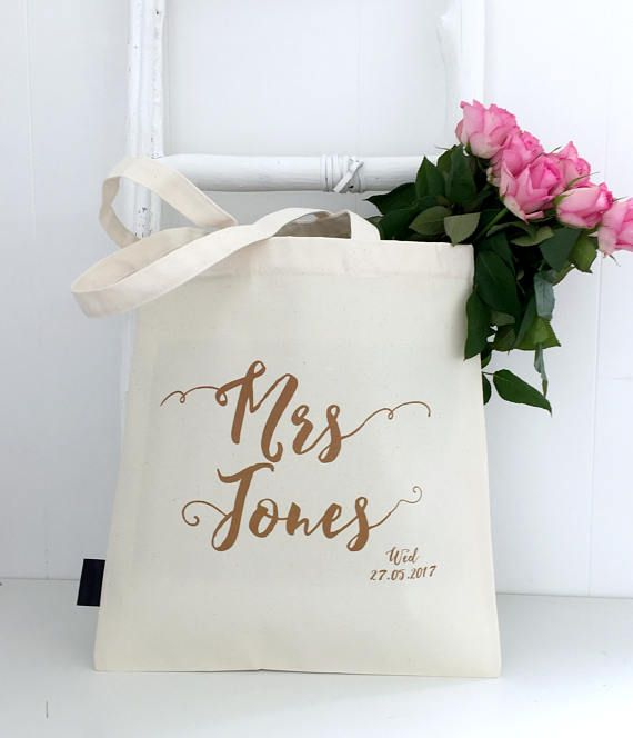This wedding bag can be personalised with your new surname and your wedding date. No excuse for forgetting that anniversary!
