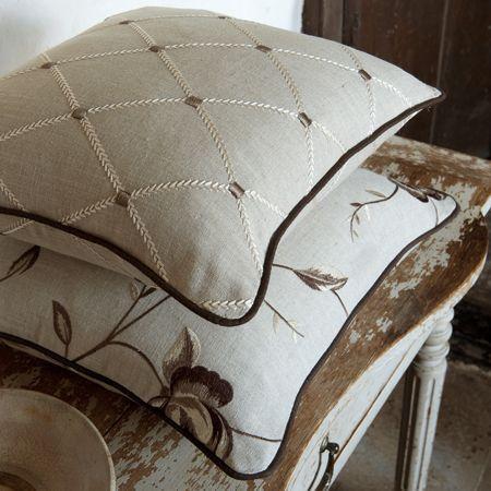 Designer Grey Taupe White Pillow  Clarke & Clarke by emeisonCOM