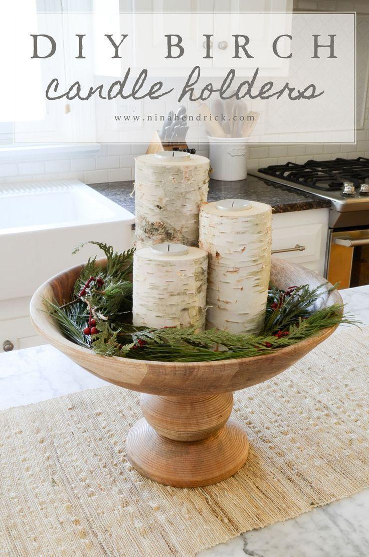 Easy DIY Birch Candle Holders Tutorial #diy #candles