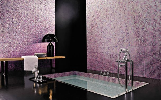 Sultry,shimmering mosaics create an atmosphere of unabashed, yet suitably restrained decadence in this relaxing spa-style bathroom.  'Kyoto' from the Vetri Blends mosaic collection by Bisazza. | The Decorating Diva, LLC