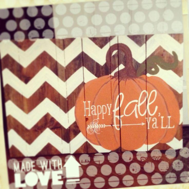 DIY wood pallet sign fall decor pumpkin happy fall yall chevron holiday