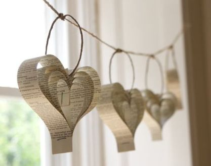 Simple paper heart garland made from old books on jute string