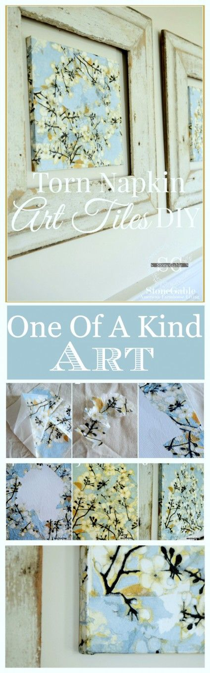 TORN NAPKIN WALL ART DIY Make beautiful one-of-a-kind art with ordinary napkins