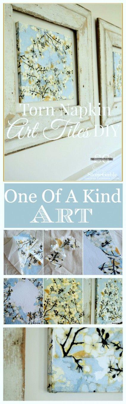 TORN NAPKIN WALL ART DIY Make beautiful one-of-a-kind art with ordinary napkins
