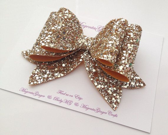 OVERSIZED Gold Glitter Hair bow clip Children & by MagentaGinger