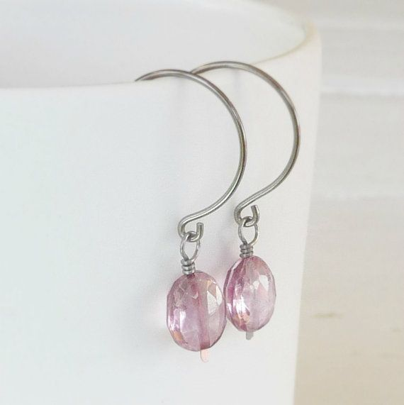 sensitive ear earrings pink mystic quartz gemstones wire wrapped with niobium, hypoallergenic nickel free earrings for sensitive earlobes. Handmade by Nonita Jewelry