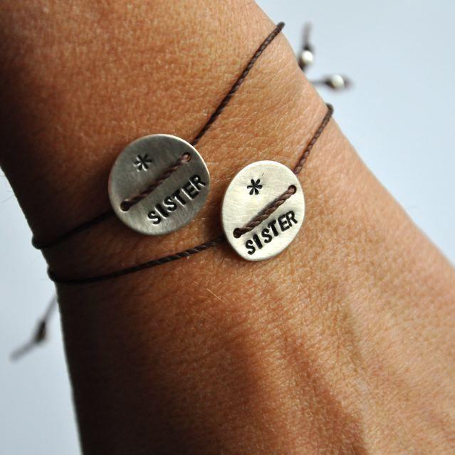 Set of 2 Sister bracelets hand stamped | Vivien Frank Designs