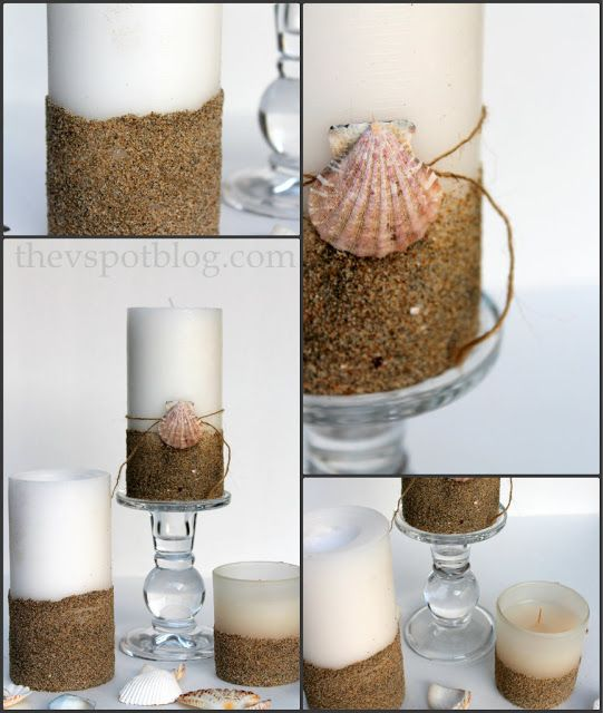 seashell craft embellishments   ... pillar candles a beachy look with sand and seashells. » The V Spot