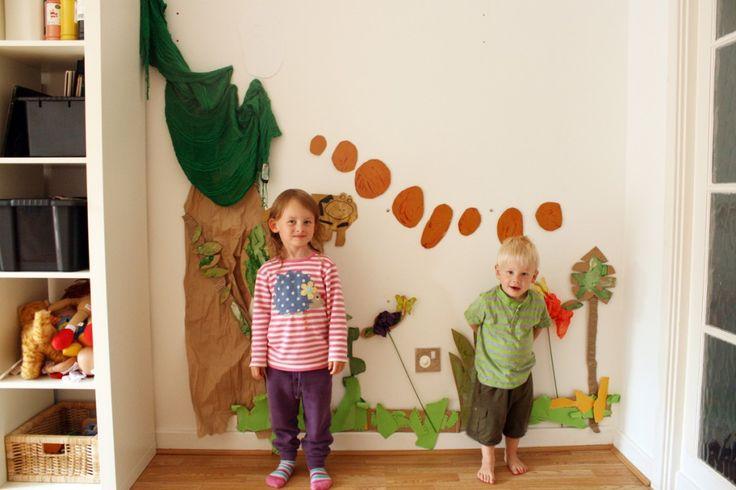 The Crafty Kitty   Mixed media, jungle, art installation. inspired by Henri Rousseau [backyard art camp]