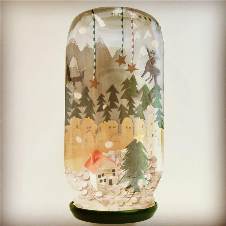 Snowglobe Winter Wonderland in Jam Jar by Helen Frances of Frances and Francis
