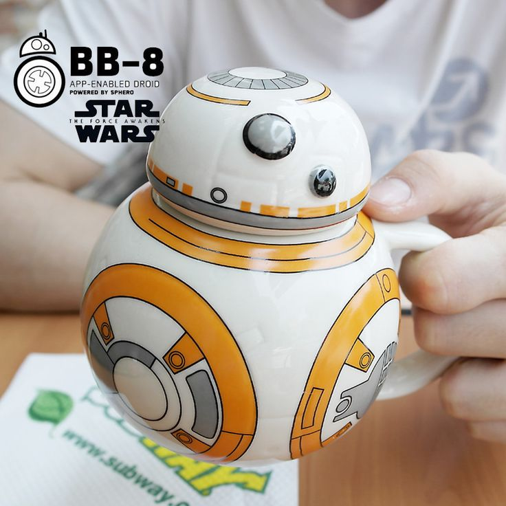 Creative Star Wars Cups 420ml BB-8 Robot Porcelain Mugs Personality Ceramic Coffee Cup with Lid Fun Tea Cup Zakka Tumbler Gift #Affiliate