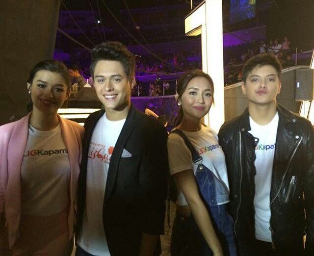This is Liza Soberano, Enrique Gil, Kathryn Bernardo, and Daniel Padilla smiling for the camera together while preparing for the final production number of the three biggest Kapamilya love teams during It's Showtime Kapamilya Day held at the Smart Araneta Coliseum last September 26, 2015. Indeed, LizQuen and KathNiel are my favourite Kapamilya love teams, and they're amazing Star Magic talents. #LizQuen #KathNiel #KathNielBernaDilla #ItsShowtime #ItsShowtimeKapamilyaDay #ShowtimeKapamilyaDay