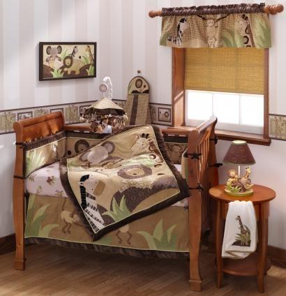 Jungle Crib Bedding Brown Neutral Color Infant Bedding Lions Giraffes Zeb