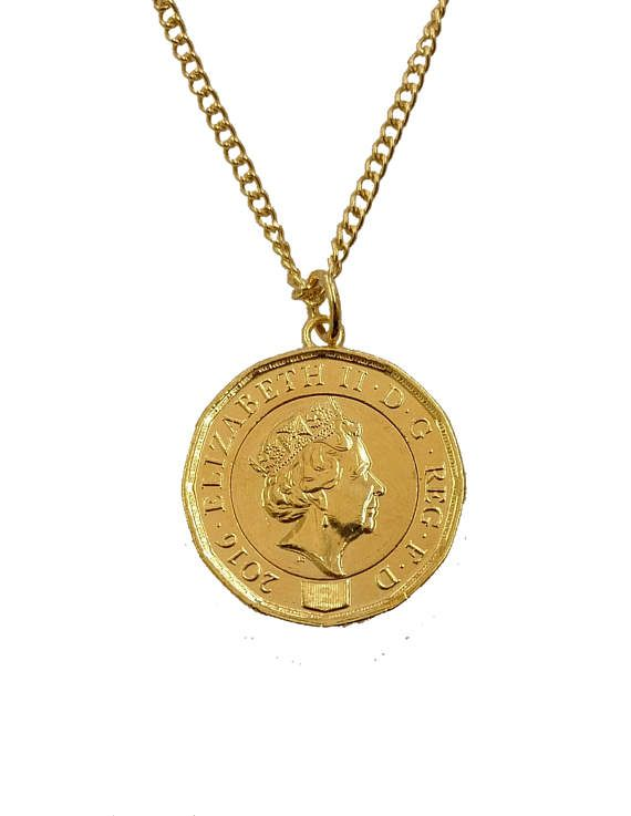 One Pound Gold Plated Coin Necklace New Design Etsy In 2021 Coin Necklace Necklace Gold