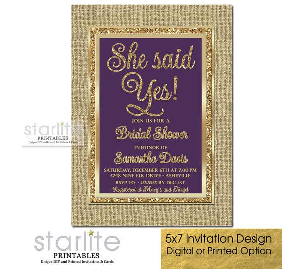 Plum and Gold Bridal Shower Invitation Engagement by starwedd