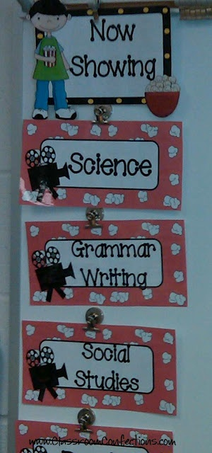 Movie themed classroom. So cute for middle elementary grades