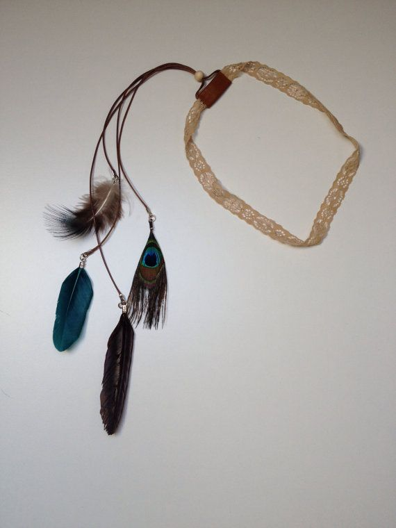 Bohemian Headband lace beads and feathers turquoise brown Peacock feather