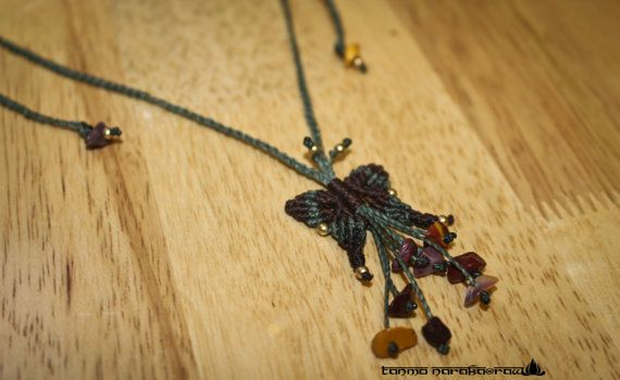 Macrame Necklace Butterfly with Healing Crystal Gemstones and brass - Gypsy Bohemian � Hippie � Native - Elegant