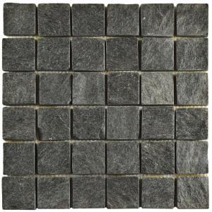 Merola Tile Crag Quad Black Quartzite 12 In. X 12 In. X 13 Mm Natural Stone  Mosaic Tile