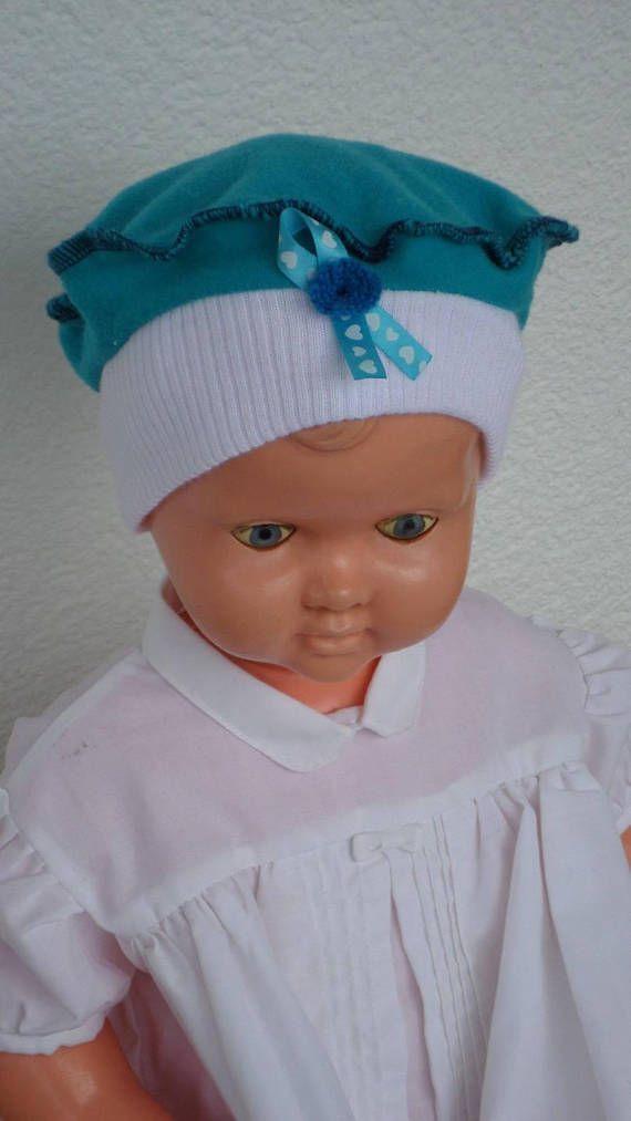 bonnet béret chapeau bébé naissance jersey coton blanc et bleu ... d58f3d44215