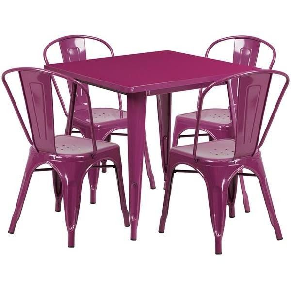31.5 Square Metal Indoor-Outdoor Table Set with 4 Stack Chairs (12... ❤ liked on Polyvore featuring home, outdoors, patio furniture, outdoor patio sets, metal outdoor furniture, stackable patio furniture, metal patio furniture, stackable outdoor furniture and indoor outdoor furniture