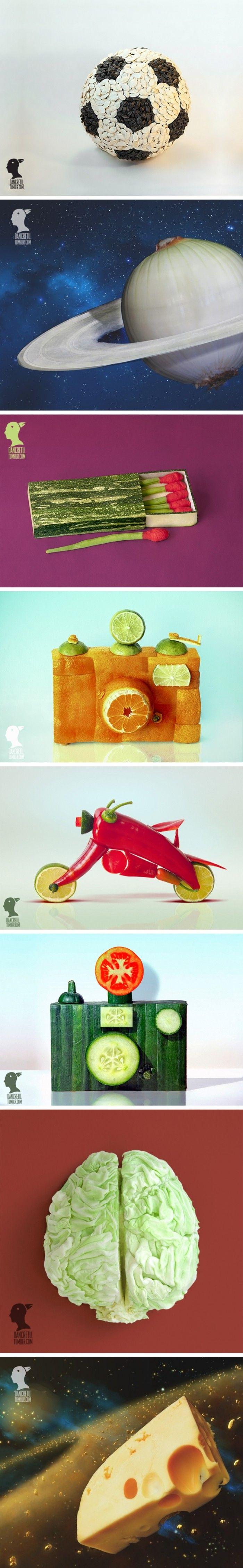 Meyve ve Sebzelerden Muhteşem Yaratıcı Heykeller www.4finite.com