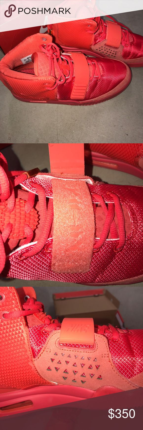 Nike air yeezy 2 red october size 9.5 Not authentic shoe, top quality, includes box and dust bag. Size 9.5. Glow in the dark red sole Nike Shoes Sneakers