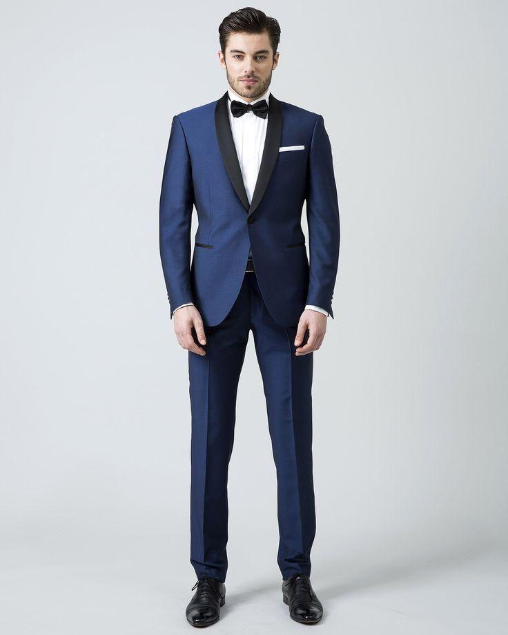 2016 nuevos hombres de la llegada trajes azul trajes de boda para hombre  chal negro solapa