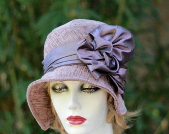 Traditional Women's 20's Style Gatsby Cloche Hat for Fall Winter Season Fabric Hat Violet Purple Plum Velvet
