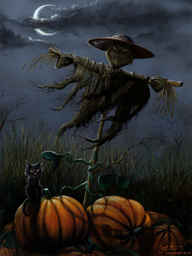 Spooky Halloween Night with Scarecrow, Pumpkins, and Black Cat