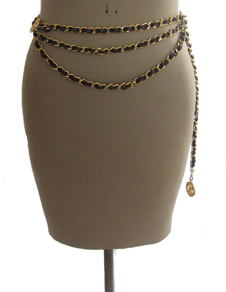 Vintage Chanel Triple Chain Belt: gold chain with black leather; inspiration for chain belt tutorial I already pinned