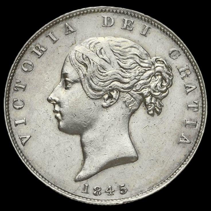 1845 Queen Victoria Young Head Silver Half Crown, AEF / EF