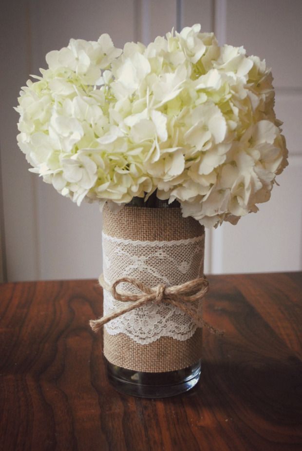 *Burlap lace cover on vase.  Can also wrap around candle.