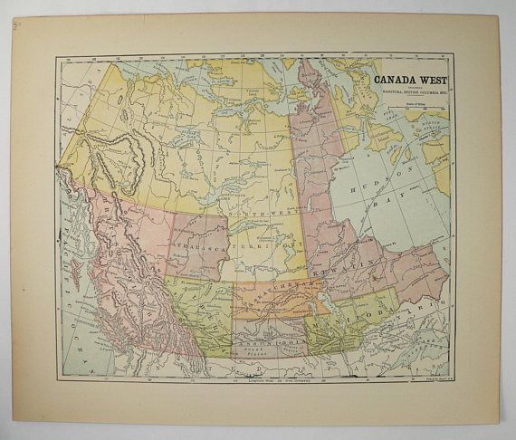 british columbia map north west territory canada map 1896 antique canada map canada west pacific coast map vintage canada decor wall map